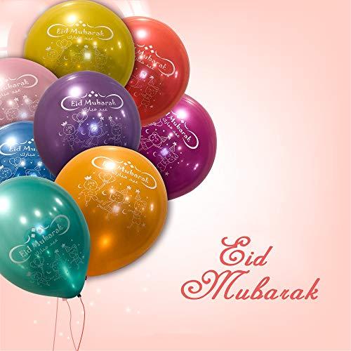 Eid Mubarak Latex Balloons (Assorted Metallic Colors, Pack of 25)