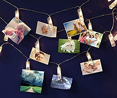 LED Photo Clip String Lights, USB Powered/Battery Powered 20 Photo Clips, 16.4ft/5m, Warm White, Perfect for Hanging Pictures, Notes, Artwork in Bedroom, Living room, Birthday, Festival, Party