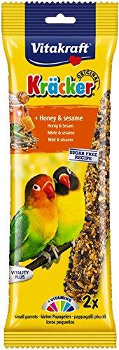 Vitakraft Kracker Leckerli-Sticks für Liebesvögel mit Honig und Sesam, 2 Stück, 5 Stück