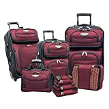Travel Select Amsterdam Expandable Rolling Upright Luggage Set 8-Piece, Burgundy
