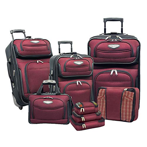 Travel Select Amsterdam Expandable Rolling Upright Luggage, Burgundy, 8-Piece Set
