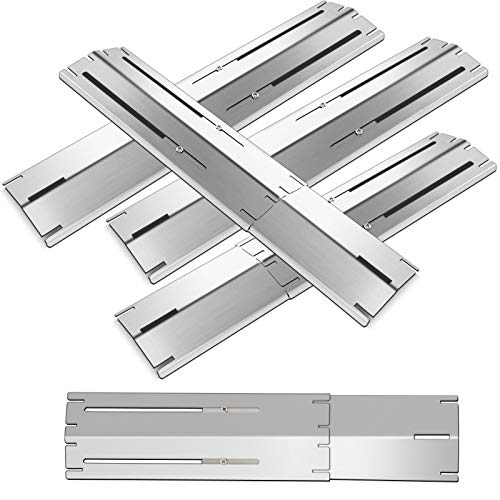 Damile 5PC Porcelain Steel Heat Plate Shield, Heat Tent, Burner Covers Flame Tamer, Heavy Duty Heat Shield for Various Types of Grills, Extends from 11.75' up to 21' L