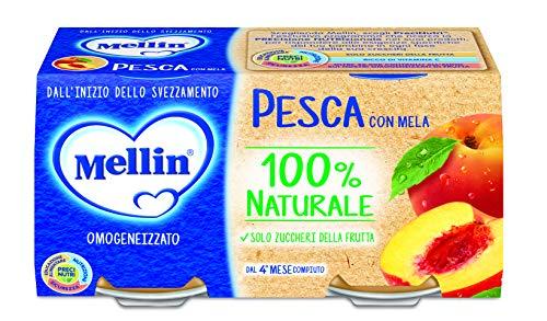 Mellin Omogeneizzato Di Frutta Pesca con Mela 100% Naturale – 24 Vasetti da 100 gr
