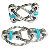 ZJT 2 Packs Flippy Chain Fidget Toys, Stress Relief Finger Fidget Toys Stainless Steel Fidget Rings Toys Suitable for ADD, ADHD, Anxiety, Autism (Pale Blue)