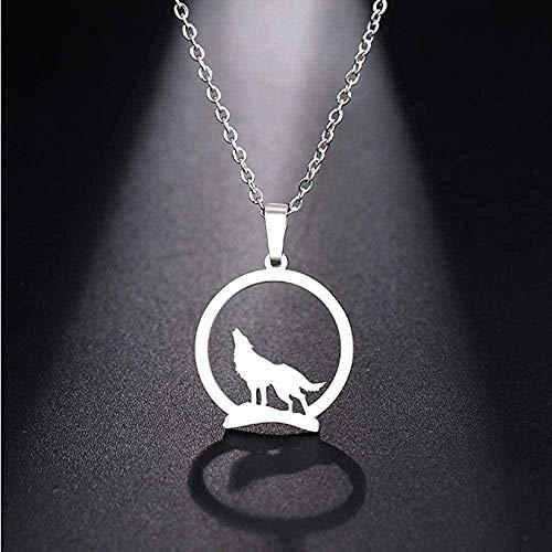 TYWZH Collar Mujer Collar de Acero Inoxidable Hombre Lobo Colgante Collar Collar Joyería de Compromiso