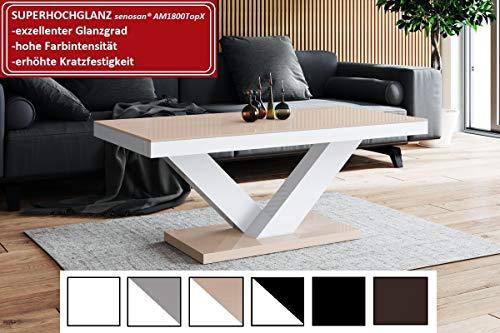 Design Couchtisch HV-888 Cappuccino/Weiß Hochglanz Highgloss Tisch Wohnzimmertisch