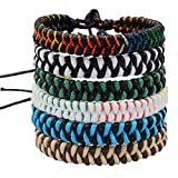 Jeka Handmade Braided Woven Friendship Bracelets Fashion 6 Pcs Bulk Men Women's Cool Wrist Bracelet for Boys Gift
