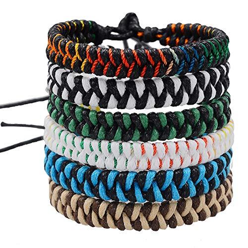 Jeka Handmade Braided Woven Friendship Bracelets Fashion 6 Pcs Bulk Men Women's...