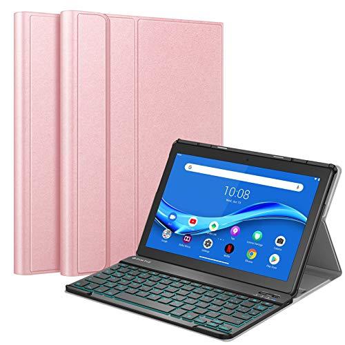 Fintie Funda con teclado para Lenovo Tab M10 TB-X505F/X505L/X605F/X605L, funda fina con [retroiluminación en 7 colores] Magnéticamente extraíble Teclado alemán QWERTZ Bluetooth en oro rosa