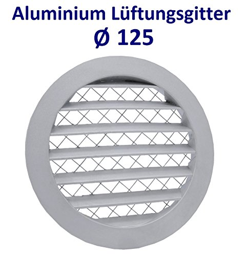 Aluminium Lüftungsgitter Abluftgitter Rund Gitter mit Insektennetz. Alugitter (Ø 125)