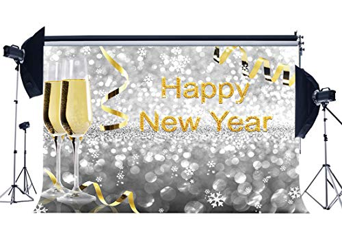 Haosphoto Happy New Year Backdrop 7X5FT Xmas Vinyl Backdrops Bokeh Sequins Falling Snowflakes Champagne Golden Ribbon Winter Photography Background for Merry Christmas Party Photo Studio Props HS299