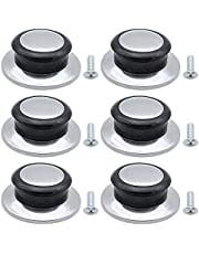 DXLing 6 Pieces Pot Lid Handle Knob Heat-Resistant Bakelite Cover Knob Replacement Lifting Handle Handgrip Stainless Steel Round Universal Home Kitchen Cookware Cover Pan Parts Set with Screws