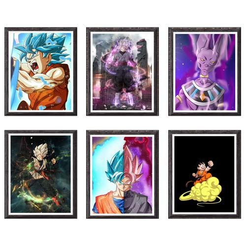Ultra Dragon Ball SSJ Darkness Goku Japonés Anime Canvas Art Prints Wall Home Decor,8 x 25,8 cm, sin marco, juego de 6 piezas