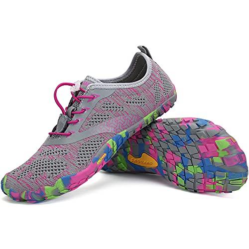 SAGUARO Barfußschuhe Damen Indoor Fitnessschuhe Weich Leicht Kletterschuhe Wander Strand Straße Laufschuhe Schnell Trocknend Badeschuhe Stil:1 Pink Gr.39