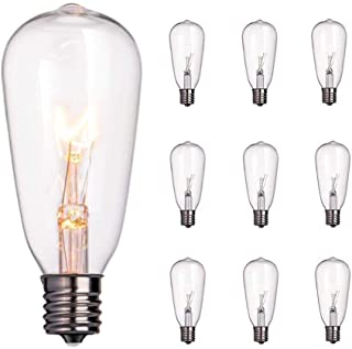 10-Pack Edison Light Bulbs, 7-watt E17 Candelabra Screw Base ST40 Replacement Clear Glass Light Bulbs for Outdoor Patio Edison Bulb String Lights, Warm White