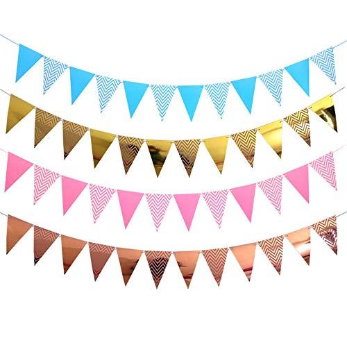 Amacoam Papieren wimpelketting, bruiloft, papier, slinger, glitter, decoratie voor bruiloft, verjaardag, party, kinderkamer, ruimer, raam 20 m, 48 wimpel, 4 kleuren