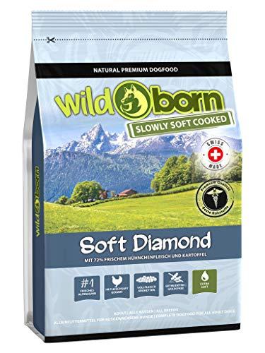 Wildborn getreidefreies Hundefutter Soft Diamond 4 kg Softfutter mit 72% frischem Schweizer Alpenhühnchenfleisch