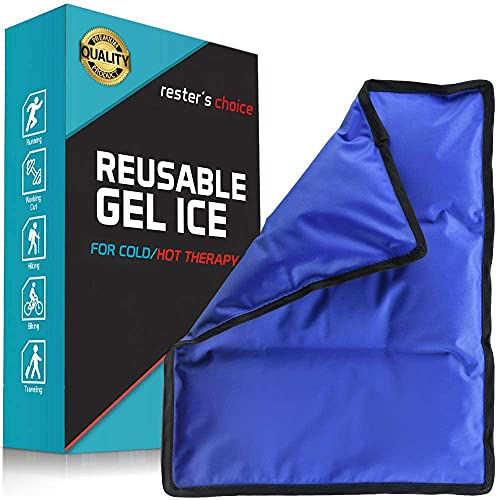 """Rester's Choice Ice Pack for Injuries Reusable - (Standard Large: 11x14.5"""") for Hip, Shoulder, Knee, Back - Hot & Cold Compress for Swelling, Bruises, Surgery - Heat & Cold Therapy"""