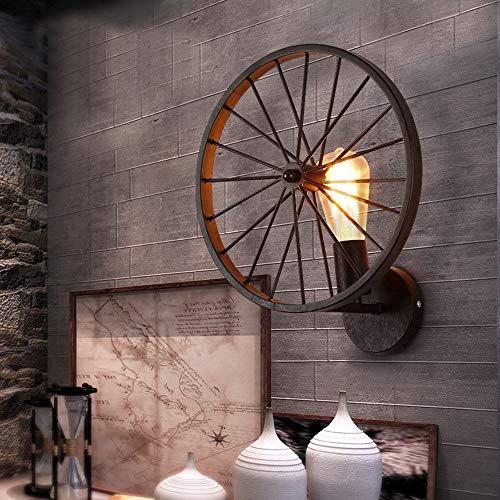 DKee Lámpara de pared de rueda de restaurante retro industrial viento pasillo hotel Internet cafés red café lámpara de pared 30 * 33 (cm) marrón lámpara de pared