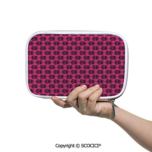 Printed Creative Pencil Case Cosmetic Storage Bag Eastern Themed Ethnic Oriental Black Damask Design on a Hot Pink Backdrop Decora for Student Office College School