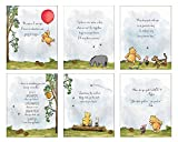 Winnie The Pooh Baby Shower Decorations, Gift Prints - Set of 6 (5'x7') Nursery Wall Art Decor - Baby Bedroom Decor, Nursery Decor, Kids Bathroom Wall Decor, Playroom Decor