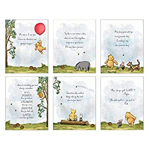 Winnie The Pooh Baby Shower Decorations, Gift Prints – Set of 6 (8″x10″) Nursery Wall Art Decor – Baby Bedroom Decor, Nursery Decor, Kids Bathroom, Playroom Wall Decor
