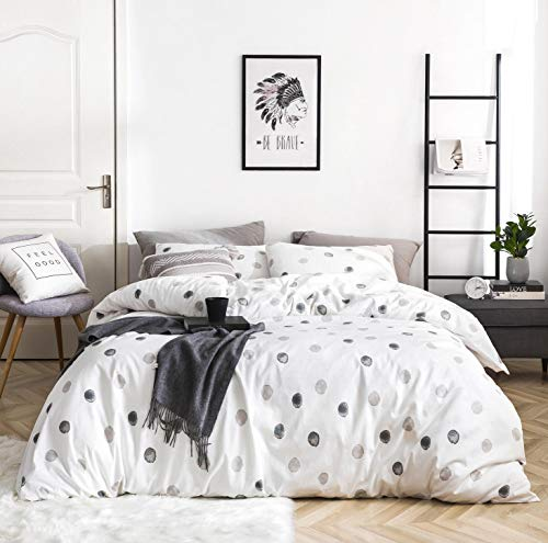 SUSYBAO 3 Pieces Duvet Cover Set 100% Natural Cotton King Size White Grey Polka Dots Print Bedding with Zipper Ties 1 Circle Pattern Duvet Cover 2 Pillowcases Hotel Quality Breathable Easy Care