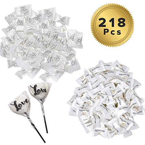 218 Wedding Candy Pieces includes 216 Wrapped Buttermints and 2 Bonus Heart Lollipops - 1 Bag of Two Hearts (108 pc) + 1 Bag of Mr. and Mrs. Mints (108 pc) - by Bottles N Bags