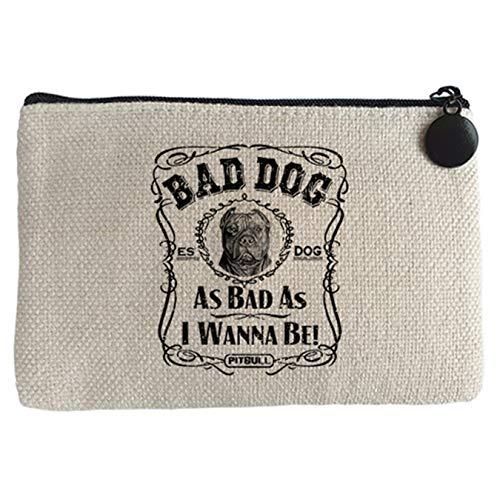Diver Bebé Monedero frase perro raza Pitbull Bad dog as bad as I wanna be - Beige, 15 x 10 cm