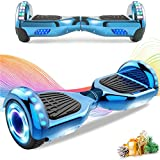 HappyBoard Hoverboard 6.5'' Patinete Eléctrico Bluetooth Monopatín Scooter autobalanceado, Ruedas de Skate con luz LED, Motor Bluetooth de 700W para niños y Adultos (Blanco)
