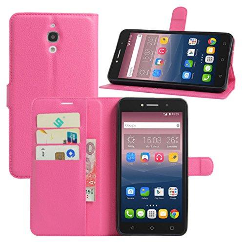 HualuBro Alcatel Pixi 4 (6 Zoll) 3G Hülle, Leder Brieftasche Etui Tasche Schutzhülle HandyHülle [Standfunktion] Lederhülle Flip Case Cover für Alcatel OneTouch Pixi4 6.0 Zoll 3G 8050D (Rose)