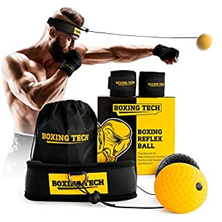 Boxing Reflex Ball Headband Set - Punching Ball on String Adjustable Two Difficulty Level for Training Box Fight MMA Equipment Hand Eye Coordination Speed Reaction with Hand Wraps for Kids and Adults (B07W5VQXYC) | Amazon price tracker / tracking, Amazon price history charts, Amazon price watches, Amazon price drop alerts