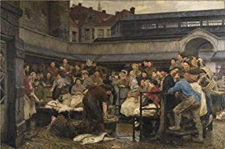 High Quality Polyster Canvas ,the Best Price Art Decorative Prints On Canvas Of Oil Painting 'The Old Fishmine Of Antwerp In 1882 By Edgard Farasyn', 16x24 Inch / 41x61 Cm Is Best For Garage Decor And Home Decoration And Gifts