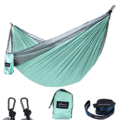 Geezo Double Camping Hammock, Lightweight Portable Parachute (2 Tree Straps 16 LOOPS/10 FT Included) 500lbs Capacity Hammock for Backpacking, Camping, Travel, Beach, Garden (Graphite/Seagreen)