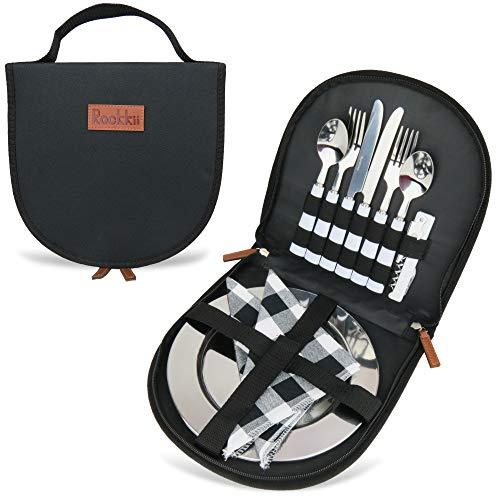 Camping Besteckset mit Tasche, 11-teiliges Camping Mess Kit mit Edelstahl-Teller, Picknick-Set für 2, Reise-Salbergeschirr-Set, Campingutensilien zum Essen, tragbares Besteck-Set (2 Personen, schwarz)