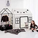 "Petite Maison Kids Play House Toy Tent (32"" x 47"" x 47""), 100% Natural Cotton Hand Made Premium Quality Playhouse for Indoor & Outdoor, Sturdy Safe Aluminum Structure, Easy Assembly - Black Line"