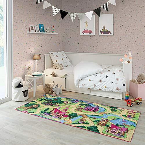 Carpet Studio Alfombra Infantil, 95x200cm, Suave al Tacto para Niño y Niña, Respaldo de látex Antideslizante, Fácil de Mantener, Sin Peligro para niños y Animales, Candy Town