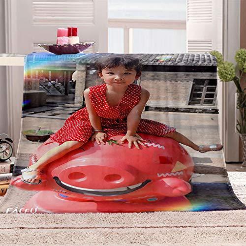 HYZSM Manta para Sofa Calentitas Suave con Franela Suave Antibolitas para Adultos y Niños Bebe,Mantas de Tiro Impresa Muchacha 3D Reversible para Sofá Cama&Camping al Aire Libre-130X150CM