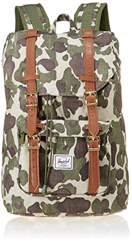 Herschel Little America Laptop Backpack, Frog Camo/Tan Synthetic Leather, Mid-Volume 17.0L