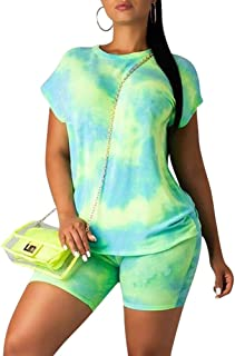 Two Piece Outfits for Women Shorts - Summer Printed T Shirts and Shorts Athletic Tracksuits Set