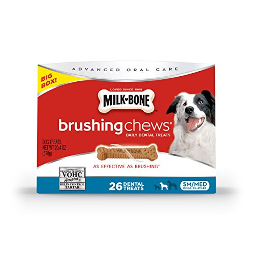 Milk-Bone Brushing Chews Daily Dental Dog Treats, Small/Medium, 26 Count
