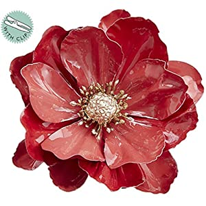SilksAreForever 4.5″ Artificial Anemone Clip-On Flower -Crimson (Pack of 12)
