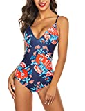 Ekouaer Womens One Piece Beachwear, 6043-navy Print1, L (fit US 10-12)