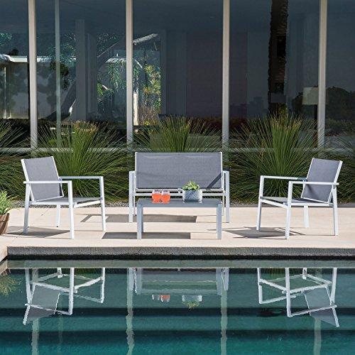 Hanover NAPLES4PC-WG Naples 4 Piece Conversation Set, Gray Outdoor Furniture