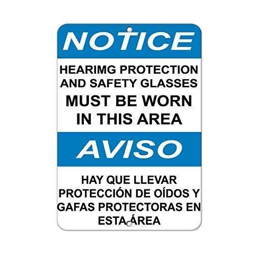 Vivityobert Notice Wear Gehörschutz und Schutzbrille Warnschilder aus Metall für Privateigentum, Gefahrenschild, 20,3 x 30,5 cm