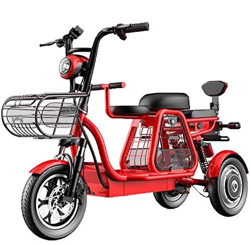 ZLM Dreirad Elektroroller E Scooter Elektromobil 3 Rad Seniorenfahrzeug Für Erwachsene Elektrofahrräder 500W 12'' All-Terrain-Mountain-Dreiräder Mit Elektrischem Schloss Kindersitz,Rot,30ah