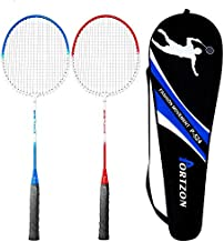Portzon 2 Player Badminton Racquets Set,Double Rackets, Lightweight & Sturdy Perfect for Beginner,1 Carrying Bag Included, 2-Packs (Badminton Racket Set)