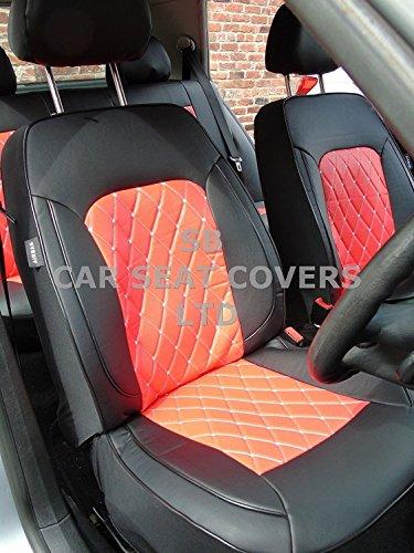 R - Adecuado para Ford C-Max, fundas de asiento, ROSSINI DIAMOND-ROJO, juego completo