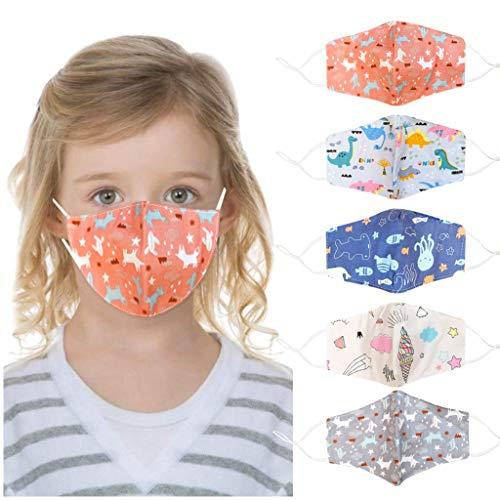 5 Stück Kinder Face Cover Shield für Mund Nase,Sommer Bandanas Waschbar Cartoon Tier Druckter Atmungsaktiver Wiederverwendbarer Baumwolle Halstuch Mundschutz für Jungen und Mädchen (5 PCS)