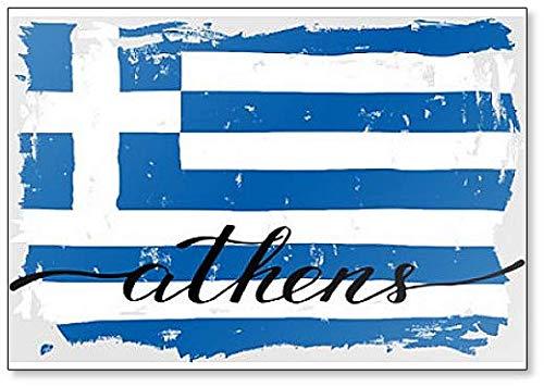Kühlschrankmagnet, Motiv: Athen, griechische Flagge, bemalt